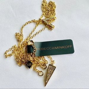 Pave' Gemmed Spike Y Necklace by Rebecca Minkoff